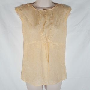 Leaf Print Cap Sleeve Blouse Silk Blend Crepe